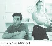 Купить «Man at home table after quarrel with wife», фото № 30606791, снято 23 мая 2019 г. (c) Яков Филимонов / Фотобанк Лори