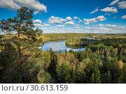 View from the lookout tower of Aulanko, Hämeenlinna, Finland. Стоковое фото, фотограф Сергей Цепек / Фотобанк Лори