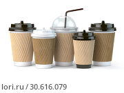 Купить «Set of coffee paper cups.Mockup template for cafe shop. Differnt types of coffee isolated on white background.», фото № 30616079, снято 17 июня 2019 г. (c) Maksym Yemelyanov / Фотобанк Лори