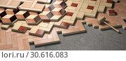 Купить «Wood parquet laid on the floor. House construction and renovation concept.», фото № 30616083, снято 8 июля 2020 г. (c) Maksym Yemelyanov / Фотобанк Лори