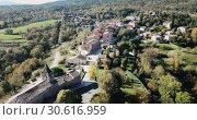 Купить «Image of Catalan village Vilanova de Sau - spain village from aerial view», видеоролик № 30616959, снято 17 ноября 2018 г. (c) Яков Филимонов / Фотобанк Лори
