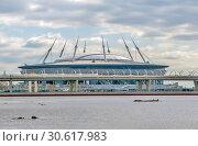 """Купить «""""Газпром Арена"""" на Крестовском острове. Санкт-Петербург», фото № 30617983, снято 20 апреля 2019 г. (c) Сергей Афанасьев / Фотобанк Лори"""