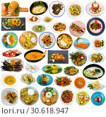 Vegetable dishes isolated on white. Стоковое фото, фотограф Яков Филимонов / Фотобанк Лори
