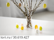 Купить «pussy willow branches decorated by easter eggs», фото № 30619427, снято 22 марта 2018 г. (c) Syda Productions / Фотобанк Лори