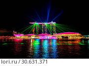 Купить «Singapore city at night with laser show.», фото № 30631371, снято 12 августа 2017 г. (c) easy Fotostock / Фотобанк Лори