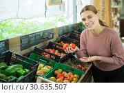 Купить «Woman choosing tomatoes in grocery store», фото № 30635507, снято 25 мая 2019 г. (c) Яков Филимонов / Фотобанк Лори
