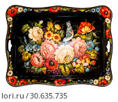 Купить «Zhostovo painting, old russian folk handicraft of painting on metal trays. Traditional bright colorful floral pattern on black background. On white background isolated», фото № 30635735, снято 21 апреля 2019 г. (c) Наталья Волкова / Фотобанк Лори