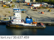 Купить «Vessel OSG COURAGEOUS (IMO: 9395707, MMSI: 367481310) is a Pusher Tug built in 2011 and currently sailing under the flag of United States of America based in Tampa Florida.», фото № 30637459, снято 17 января 2019 г. (c) age Fotostock / Фотобанк Лори
