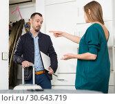 Купить «Wife offended husband because of business trip», фото № 30643719, снято 15 января 2019 г. (c) Яков Филимонов / Фотобанк Лори