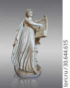 Купить «Roman ststue of with a lyre, copied from an earlier 4th cebtury BC Hellenistic statue, from a group of Muses found in Villa de Cassius at Tivoli, inv 310, Vatican Museum Rome, Italy, grey background.», фото № 30644615, снято 1 апреля 2017 г. (c) age Fotostock / Фотобанк Лори