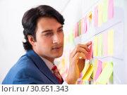 Купить «Young handsome employee with many conflicting priorities», фото № 30651343, снято 16 октября 2018 г. (c) Elnur / Фотобанк Лори