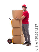 Купить «Young male courier with box», фото № 30651827, снято 9 ноября 2018 г. (c) Elnur / Фотобанк Лори