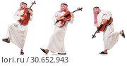 Купить «Arab man playing cello isolated on white», фото № 30652943, снято 8 июля 2020 г. (c) Elnur / Фотобанк Лори