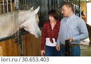 Купить «Portrait of couple standing at stable», фото № 30653403, снято 26 ноября 2018 г. (c) Яков Филимонов / Фотобанк Лори