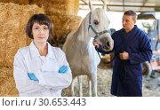 Купить «Female veterinarian at horse stable», фото № 30653443, снято 26 ноября 2018 г. (c) Яков Филимонов / Фотобанк Лори