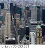 Купить «Aerial view of cityscape, Midtown Manhattan, New York City, New York State, USA», фото № 30653531, снято 8 декабря 2019 г. (c) Ingram Publishing / Фотобанк Лори