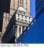 Купить «Low angle view of skyscrapers in city, Manhattan, New York City, New York State, USA», фото № 30653759, снято 13 декабря 2019 г. (c) Ingram Publishing / Фотобанк Лори