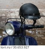 Купить «Close-up of a motor scooter and helmet, Budva, Montenegro», фото № 30653927, снято 12 сентября 2017 г. (c) Ingram Publishing / Фотобанк Лори