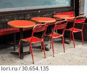 Купить «Chairs and tables at restaurant, New York City, New York State, USA», фото № 30654135, снято 23 мая 2019 г. (c) Ingram Publishing / Фотобанк Лори