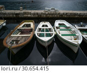 Купить «High angle view of boats moored at port, Perast, Bay of Kotor, Montenegro », фото № 30654415, снято 20 июля 2019 г. (c) Ingram Publishing / Фотобанк Лори