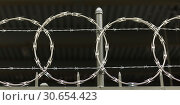 Купить «Close-up of barbed wire fencing, New York City, New York State, USA», фото № 30654423, снято 18 октября 2019 г. (c) Ingram Publishing / Фотобанк Лори