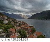 Купить «Elevated view of Perast town, Bay of Kotor, Montenegro», фото № 30654639, снято 22 сентября 2019 г. (c) Ingram Publishing / Фотобанк Лори