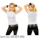 Blond woman wearing blank white shirt. Стоковое фото, фотограф sumners / easy Fotostock / Фотобанк Лори