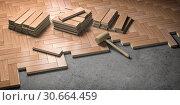 Купить «Wood parquet laid on the floor. House construction and renovation concept.», фото № 30664459, снято 8 июля 2020 г. (c) Maksym Yemelyanov / Фотобанк Лори