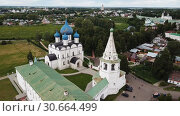Купить «Aerial view of Suzdal Kremlin with Cathedral of Nativity, oldest part of medieval Russian city of Suzdal», видеоролик № 30664499, снято 29 июня 2018 г. (c) Яков Филимонов / Фотобанк Лори