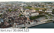 Купить «Aerial view of Auxerre cityscape with Abbey of Saint-Germain, Burgundy, France», видеоролик № 30664523, снято 24 октября 2018 г. (c) Яков Филимонов / Фотобанк Лори