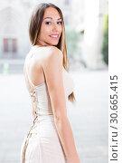 Купить «close-up portrait of young female with long hair in romantic ivory midi gown», фото № 30665415, снято 24 июня 2017 г. (c) Яков Филимонов / Фотобанк Лори