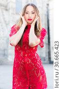 Купить «close-up portrait of young slim adult girl in sexy evening apparel», фото № 30665423, снято 24 июня 2017 г. (c) Яков Филимонов / Фотобанк Лори