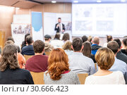 Купить «Business speaker giving a talk at business conference event.», фото № 30666423, снято 18 октября 2018 г. (c) Matej Kastelic / Фотобанк Лори