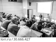 Купить «Business speaker giving a talk at business conference event.», фото № 30666427, снято 11 декабря 2014 г. (c) Matej Kastelic / Фотобанк Лори
