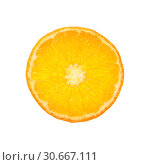 Close up round cut slice of orange over white. Стоковое фото, фотограф Anton Eine / Фотобанк Лори
