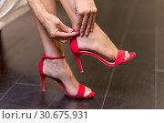 Купить «Sexy Girl putting her red high heels shoes on.», фото № 30675931, снято 19 ноября 2018 г. (c) easy Fotostock / Фотобанк Лори