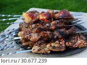 Купить «Шашлыки из свинины на шампурах», фото № 30677239, снято 25 апреля 2019 г. (c) Марина Володько / Фотобанк Лори