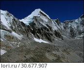 Купить «NEPAL Khumbu Glacier -- 16 Apr 2005 -- Tibetan glaciers (the ridge on this image is the border) on the slopes of Mount Lingtren (centre, 6697m). Like on...», фото № 30677907, снято 20 июля 2019 г. (c) age Fotostock / Фотобанк Лори