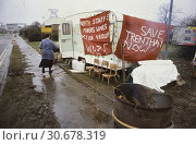 Купить «UK Trentham -- c. 1992 -- North Staffordshire Miner's Wives Action Group at their protest camp outside Trentham Colliery. Miners claimed that the pit,...», фото № 30678319, снято 21 сентября 2019 г. (c) age Fotostock / Фотобанк Лори