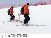 Купить «Спасатели Камчатского спасательного отряда на горных лыжах с носилками едут для оказания первой медицинской помощи и эвакуации горнолыжника во время Чемпионата России по горным лыжам», фото № 30679659, снято 28 марта 2019 г. (c) А. А. Пирагис / Фотобанк Лори