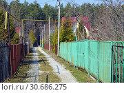 Купить «Улица в СНТ вдоль дачных участков весной», фото № 30686275, снято 21 апреля 2019 г. (c) Александр Замараев / Фотобанк Лори