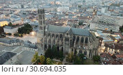 Купить «View of impressive Roman Catholic Cathedral of Limoges in twilight, France», видеоролик № 30694035, снято 26 октября 2018 г. (c) Яков Филимонов / Фотобанк Лори