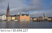 Купить «Городской пейзаж Стокгольма мартовским днем. Швеция», видеоролик № 30694227, снято 4 мая 2019 г. (c) Виктор Карасев / Фотобанк Лори