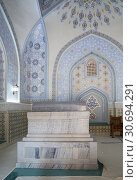 Купить «Interior of the mausoleum Sheikh Shamsiddin Kulol at Dorut Tilavat Complex in Shakhrisabz, Uzbekistan», фото № 30694291, снято 16 октября 2016 г. (c) Юлия Бабкина / Фотобанк Лори