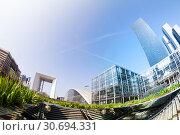 La Defense district with Grande Arche in Paris. Стоковое фото, фотограф Сергей Новиков / Фотобанк Лори