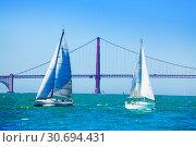 White sailboats against Golden Gate Bridge, USA (2015 год). Стоковое фото, фотограф Сергей Новиков / Фотобанк Лори