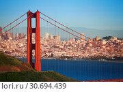 Cityscape of San Francisco and Golden Gate Bridge (2015 год). Стоковое фото, фотограф Сергей Новиков / Фотобанк Лори