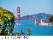 Golden Gate Bridge with Fort Point, San Francisco (2015 год). Стоковое фото, фотограф Сергей Новиков / Фотобанк Лори