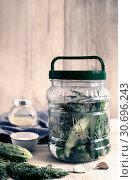 Купить «Pickles in a glass jar with cucumber brine», фото № 30696243, снято 15 апреля 2019 г. (c) Galina Tolochko / Фотобанк Лори
