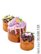 Купить «Пасхальные куличи домашней выпечки на белом фоне», фото № 30698139, снято 27 апреля 2019 г. (c) V.Ivantsov / Фотобанк Лори